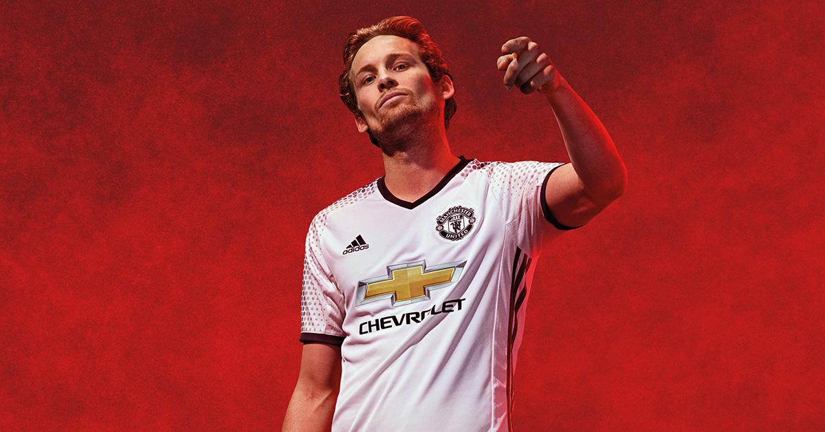 Hvid Manchester United Fodboldtrøje