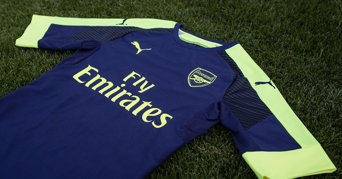 Blå Arsenal FC Fodboldtrøje