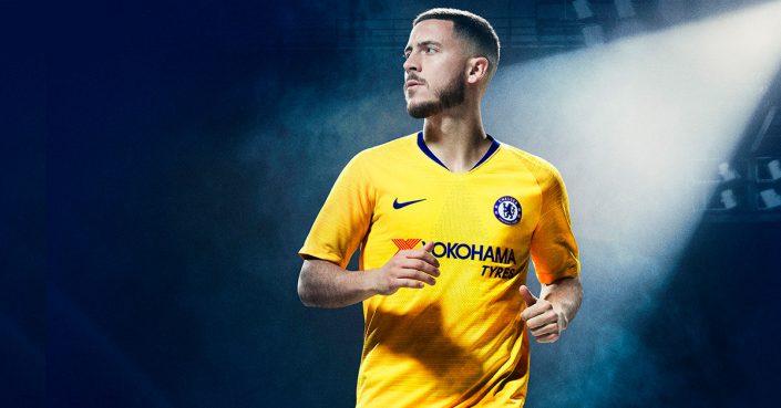 Gul Chelsea FC Udebanetrøje 2018