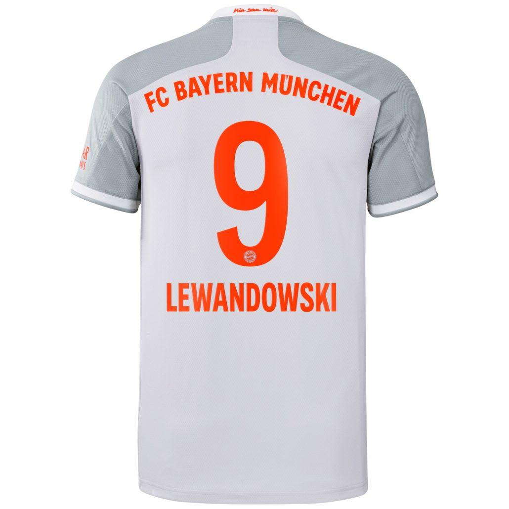 Hvid FC Bayern München Udebanetrøje 2020 Lewandowski